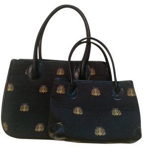 J.McLaughlin Leather Embroidered Bees Satchel in Black and gold