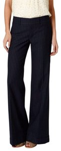 Anthropologie Pinstripe Classic Retro Wool Office Wide Leg Pants navy