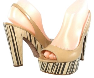 Prada Patent Leather Slingback Striped Peep Toe Light Beige Platforms