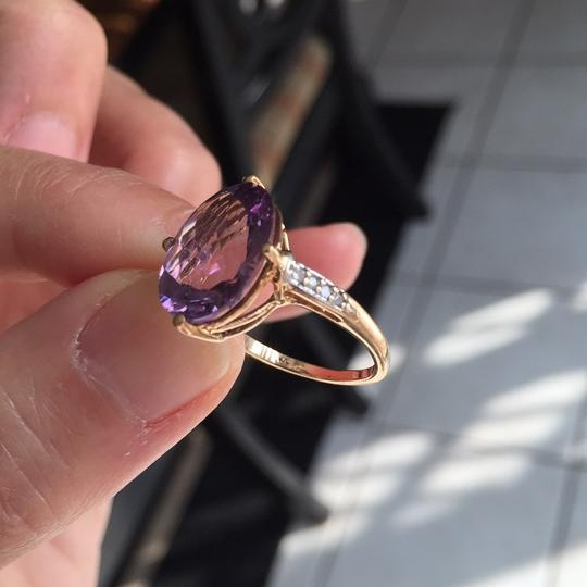 10K Gold oval genuine amethyst ring Genuine Amethyst in 10K Gold with real diamond on the side. Image 10