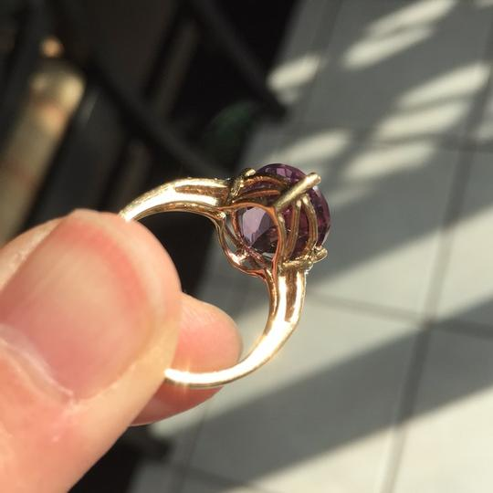 10K Gold oval genuine amethyst ring Genuine Amethyst in 10K Gold with real diamond on the side. Image 6
