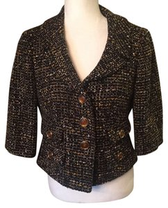 Ann Taylor LOFT Black/White/Yellow Tweed Blazer