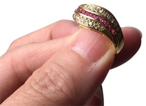 Other 18K stamp solid yellow Gold with ruby diamond Ring