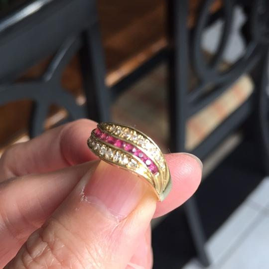 Other 18K stamp solid yellow Gold with ruby diamond Ring Image 2