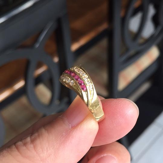 Other 18K stamp solid yellow Gold with ruby diamond Ring Image 3