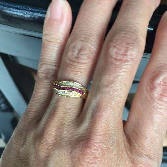 Other 18K stamp solid yellow Gold with ruby diamond Ring Image 4