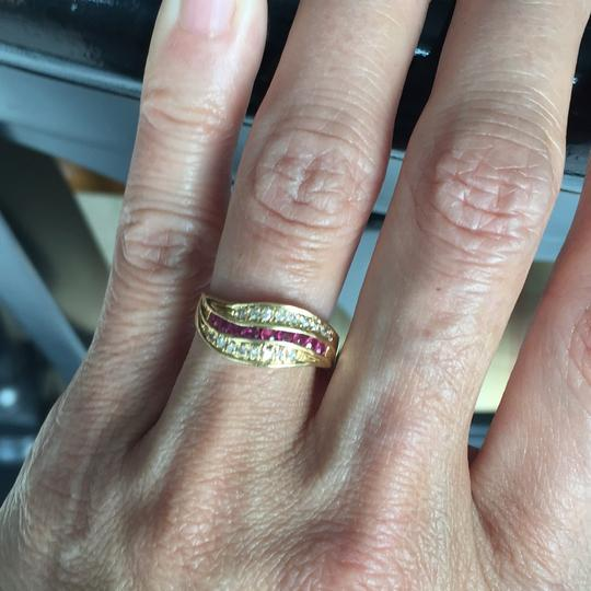 Other 18K stamp solid yellow Gold with ruby diamond Ring Image 5