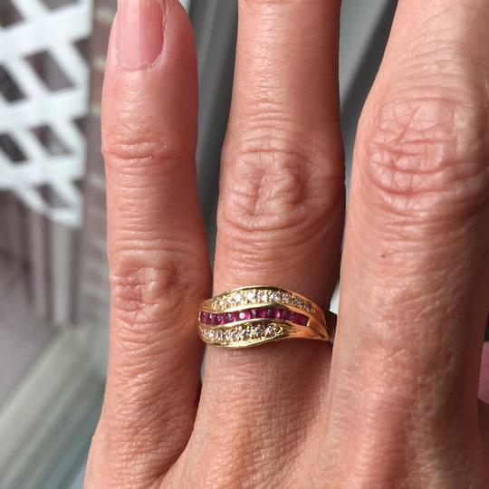 Other 18K stamp solid yellow Gold with ruby diamond Ring Image 6
