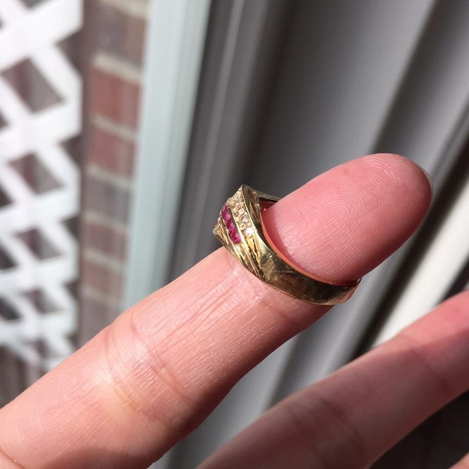Gold 18k Stamp Solid Yellow with Ruby Diamond Ring - Tradesy