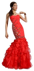 Party Time Formals Mermaid Beaded Strapless Dress