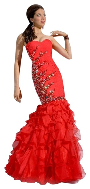 Party Time Formals Mermaid Beaded Strapless Prom Ruching Gathered Dress