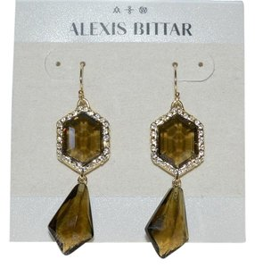 Alexis Bittar Alexis Bittar Dazzling Pave Smoky Topaz Hexagonal Drop Earrings