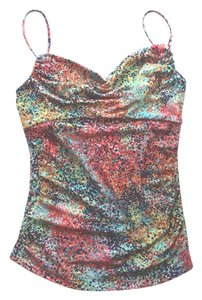 BCBGMAXAZRIA Pop Of Color Vacation Summer Style Watercolor Tank Top Multi