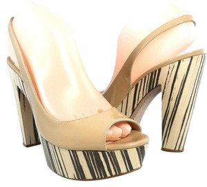 Prada Patent Leather Peep Toe Slingback Striped Light Beige Platforms