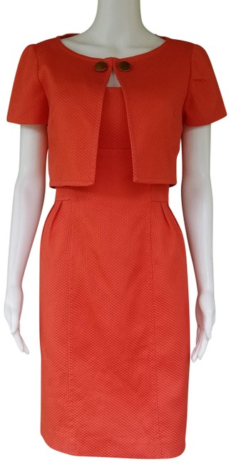 Preload https://img-static.tradesy.com/item/14352361/donna-morgan-orange-cotton-blend-jacket-suit-textured-knee-length-short-casual-dress-size-4-s-0-3-650-650.jpg