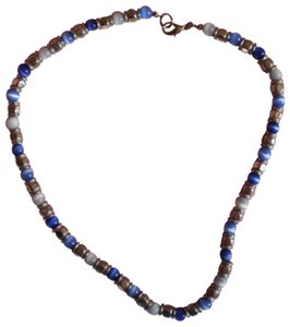 Other Silver blue & white bead necklace