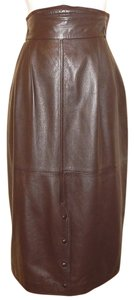 Gucci Pencil Vintage Leather Skirt Brown
