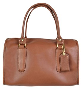 Coach Leather Medium Size Color Hangtag Satchel in British Tan