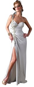 Terani Couture Silver One Front Slit Slit Satin Jewels Sequins Terani Pageant Dress