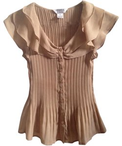 Allison Taylor Sand Tan 109881 Accordion Pleat Cap Sleeve Top beige
