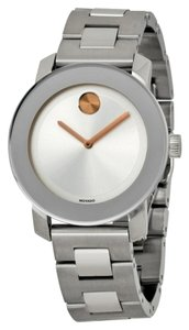 Movado Silver Stainless Steel Rose Gold Accent Designer Dress Ladies Watch