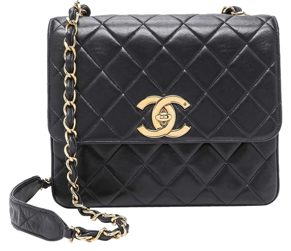 42cdb3511d4af5 Chanel Classic Flap XL Quilted Vintage Jumbo Large Cc Logo Ghw Black  Lambskin Leather Cross Body Bag