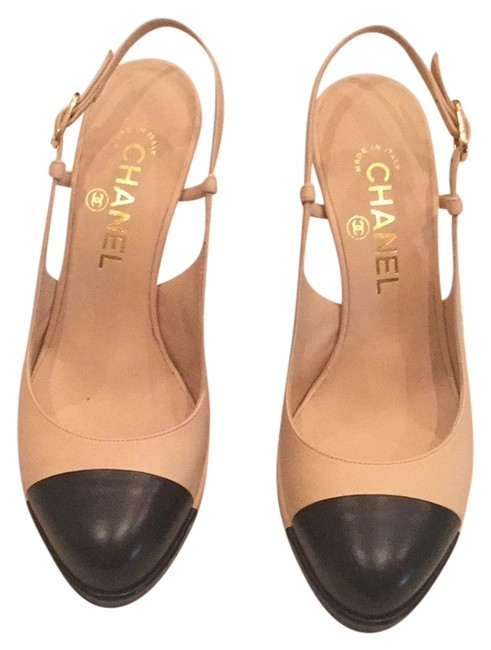 Item - Beige with Black Captoe Platforms Size US 6.5 Regular (M, B)