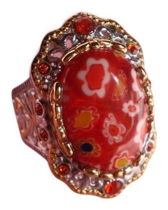 Murano Millefiori Glass, Orange Austrian Crystals in ION Plated YG and Stainless Steel (Size 8)