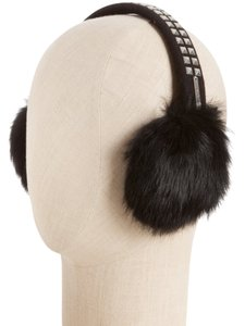 Michael Kors Michael KORS studded Rabbit Ear Muffs in Black. Real fur. Black with Silvertone Studs.