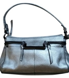 Perlina Leather Soft Handbag Silver Hardware Satchel in Shimmery Gray