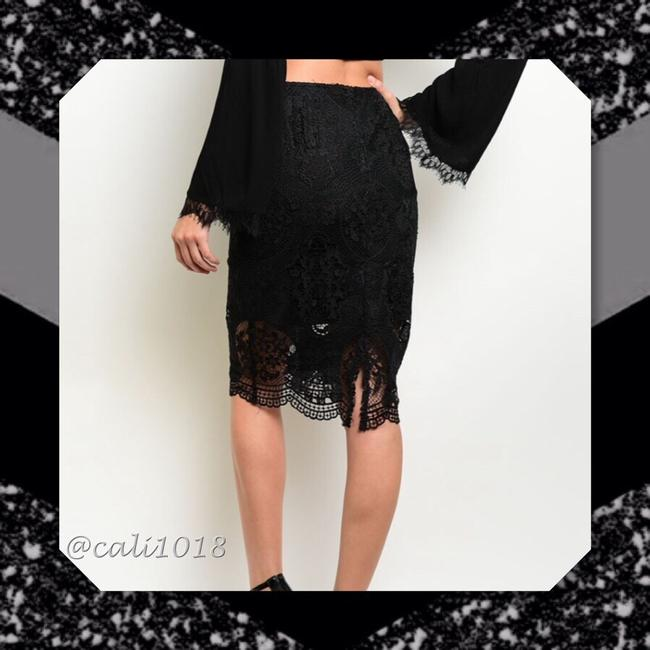 Other Lace Pencil Scalloped Crochet Skirt Black Image 1