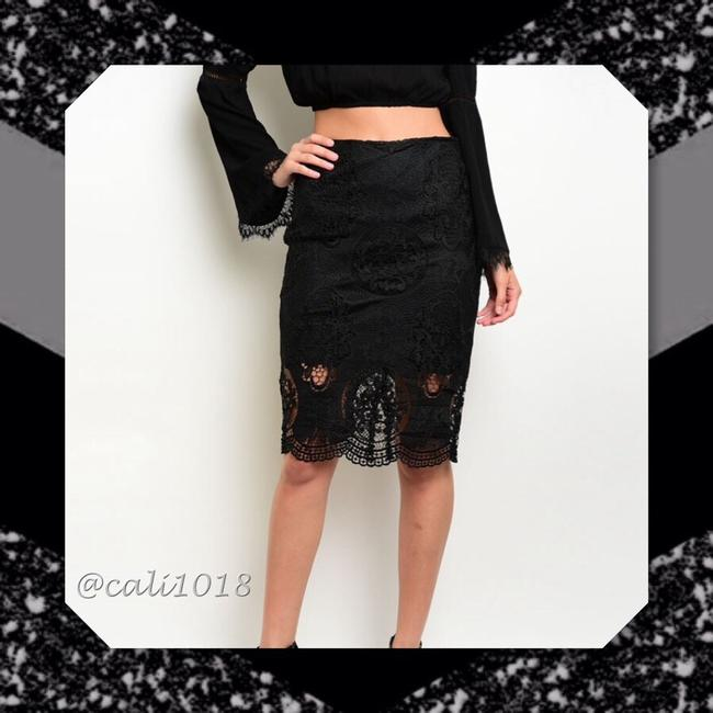 Other Lace Pencil Scalloped Crochet Skirt Black Image 2