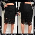 Other Lace Pencil Scalloped Crochet Skirt Black Image 3