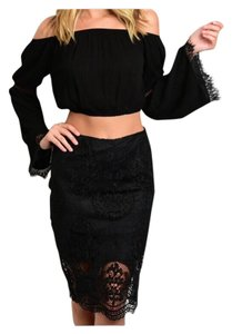 Other Lace Pencil Scalloped Crochet Skirt Black