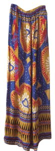 Christian Lacroix Silk Colorful Vintage Wide Leg Pants Multicolored