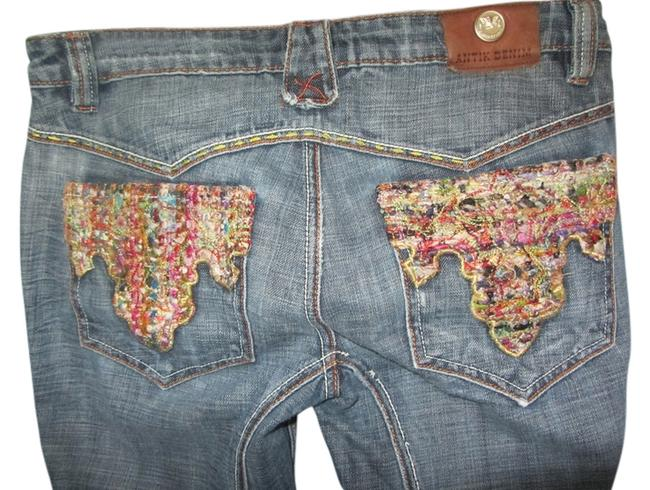 Item - Blue Embroidered Pockets Distressed Flare Leg Jeans Size 30 (6, M)