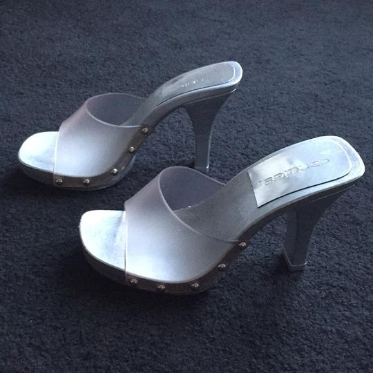 Candie's Stiletto Studded Metallic Silver and clear Sandals Image 1