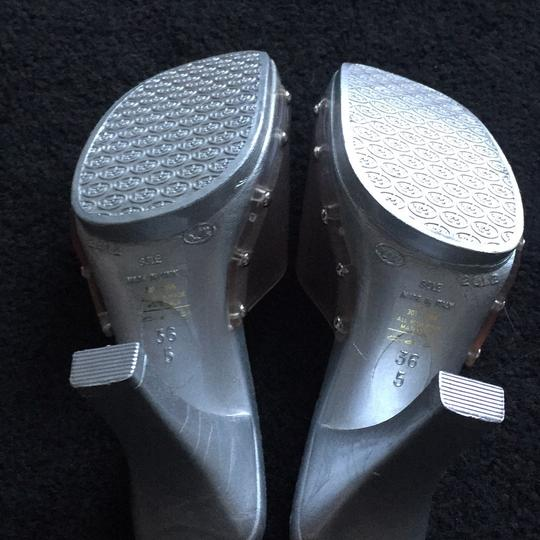 Candie's Stiletto Studded Metallic Silver and clear Sandals Image 2