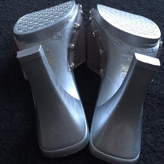Candie's Stiletto Studded Metallic Silver and clear Sandals Image 6