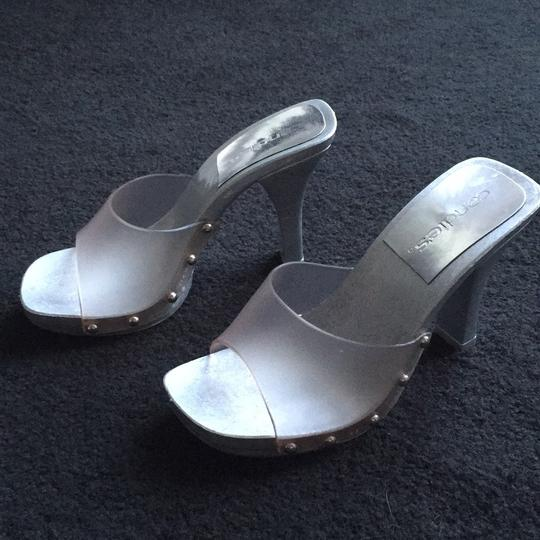Candie's Stiletto Studded Metallic Silver and clear Sandals Image 8