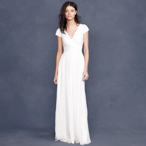 J.Crew Cream/Ivory Silk Chiffon Mirabelle Gown (Item 66754) Destination Wedding Dress Size 10 (M)