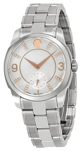 Movado Mother of Pearl Dial Two Tone Silver and Rose Gold Stainless Steel Designer Ladies Watch