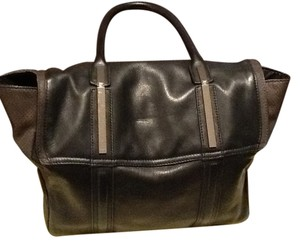 Walter by Walter Baker Black/Brown embossed leather with silver hardware Messenger Bag