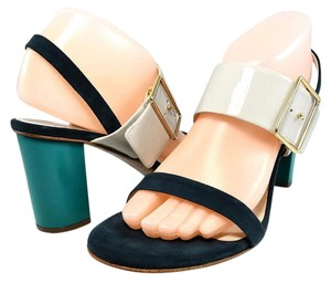 Jil Sander Suede Slingback Contrast Patent Leather Navy/Teal/Pale Grey Sandals