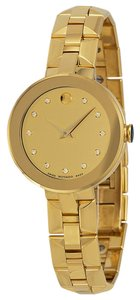 Movado Daimonds and Gold tone PVD Stainless Steel Designer Ladies Dress Watch