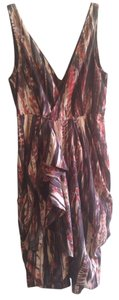 H&M short dress Red Rust Beige Brown Ink Print Dye Print Tie Dye Print Drape on Tradesy
