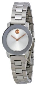 Movado Two Tone Silver and Rose Gold Stainless Steel Designer Ladies Dress Watch
