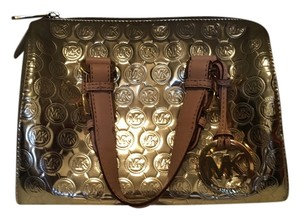 Michael Kors Monogram Leather Tote in Gold
