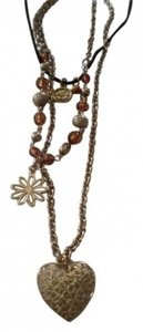 Body Central Long Suede & goldtone charm necklace