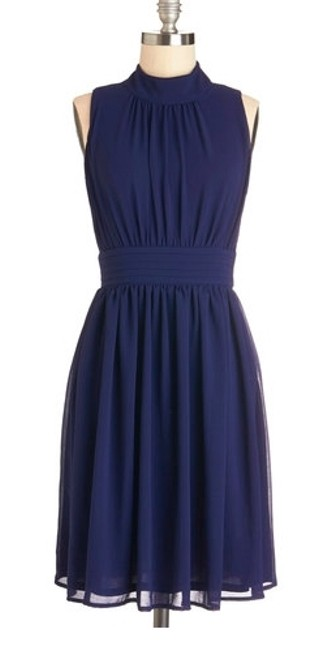 Item - Navy Chiffon Windy City Vintage Bridesmaid/Mob Dress Size 10 (M)